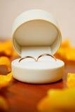 Plan rapproché des anneaux de mariage dans une boîte Photo stock