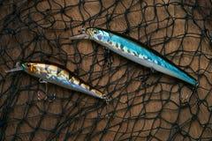 Plan rapproché des attraits de pêche avec le filet Photographie stock