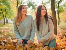 Plan rapproché des belles filles, soeurs de jumeaux, en parc d'automne Photographie stock libre de droits