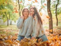 Plan rapproché des belles filles, soeurs de jumeaux, en parc d'automne Images stock
