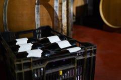 Plan rapproché des bouteilles de vin rouge et des barils en bois dans la cave photos stock