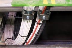 Plan rapproché des câbles dans des brides Fondre le conducteur, avance de la terre, câble de masse avec des conducteurs de neutre photo stock