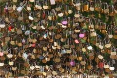 Plan rapproché des cadenas de serrures d'amour Photographie stock libre de droits