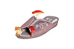 Plan rapproché des chaussons avec des champignons de couche Photos stock