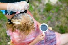 Plan rapproché des cheveux de coloration de coiffeur pour la femme qui Photos stock