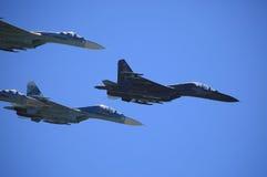 Plan rapproché des combattants Su-27 Photos libres de droits
