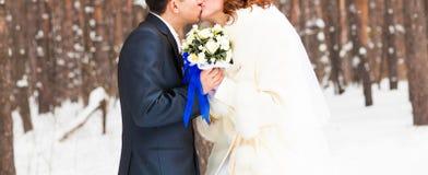 Plan rapproché des couples de mariage en hiver Photographie stock libre de droits