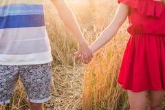 Plan rapproché des couples tenant des mains dans le lever de soleil de nature Images stock