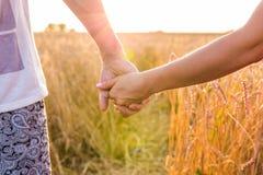 Plan rapproché des couples tenant des mains dans le lever de soleil de nature Photo stock