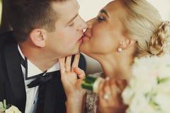 Plan rapproché des couples tendrement de baiser de mariage Image stock