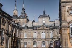 Plan rapproché des détails du palais de Granja de San Ildefonso Images stock