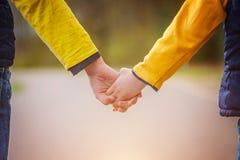 Plan rapproché des enfants tenant des mains tout en marchant en parc Photo libre de droits