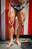 Plan rapproché des jambes musculaires dehors Photos stock