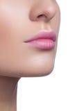 Plan rapproché des lèvres de la femme avec le maquillage brillant de rose lumineux de mode Macro maquillage magenta de lipgloss Image libre de droits