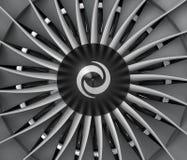 Plan rapproché des lames de turbo de moteur de fan de jet Images libres de droits