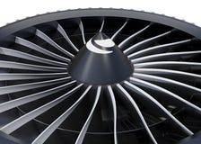 Plan rapproché des lames de turbo de moteur de fan de jet Images stock