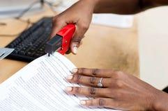 Plan rapproché des mains étreignant des feuilles de papier Photographie stock libre de droits