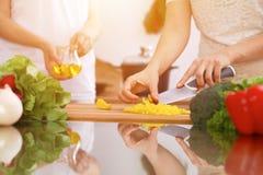 Plan rapproché des mains humaines faisant cuire dans la cuisine Mère et fille ou deux amis féminins coupant des légumes pour la s Photos libres de droits
