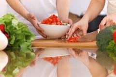 Plan rapproché des mains humaines faisant cuire dans la cuisine Mère et fille ou deux amis féminins coupant des légumes pour la s Images stock