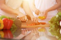 Plan rapproché des mains humaines faisant cuire dans la cuisine Tomate de coupe de mère et de fille ou de deux femelles pour la s Images stock