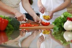 Plan rapproché des mains humaines faisant cuire dans une cuisine Amis ayant l'amusement tout en préparant la salade fraîche Végét Photos stock
