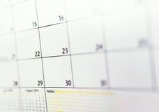 Plan rapproché des nombres sur le calendrier Images libres de droits
