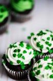 Plan rapproché des petits gâteaux de chocolat avec le givrage blanc et la feinte verte Image stock