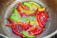 Plan rapproché des piments rouges et verts image libre de droits