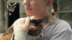 Plan rapproché des prises volontaires femelles sur le chat de mains dans l'abri Abri pour le concept d'animaux banque de vidéos