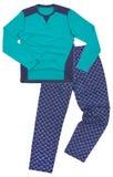 Plan rapproché des pyjamas de chauffage d'un hiver sur un blanc Photographie stock