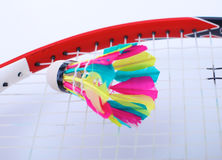 Plan rapproché des raquettes de badmington avec des boules sur un fond bleu photo libre de droits