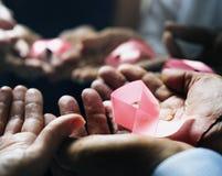 Plan rapproché des rubans roses sur des paumes pour la campagne de sensibilisation de cancer du sein Photo stock
