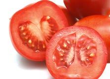 Plan rapproché des tomates rouges coupées en tranches Photographie stock