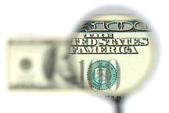 Plan rapproché du billet de banque $100 Images libres de droits