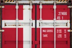 Plan rapproché du conteneur avec le drapeau national image libre de droits