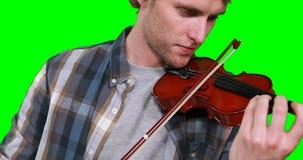 Plan rapproché du musicien masculin jouant le violon banque de vidéos