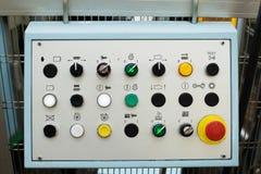 Plan rapproché du panneau de commande - boutons avec des icônes Image stock