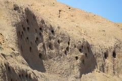 Plan rapproché du sable Martin Nests dans un flanc de coteau photo libre de droits