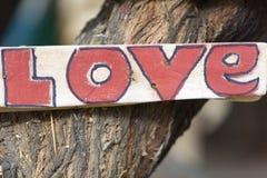Plan rapproché du signe en bois rustique d'amour accroché sur un arbre, Pérou Images libres de droits