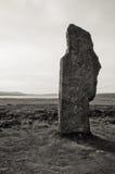 Plan rapproché en pierre noir et blanc de cercle de pierre de Stenness image stock