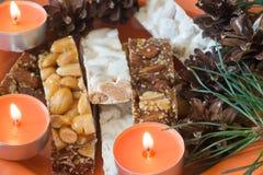 Plan rapproché espagnol de foyer sélectif de dessert de Noël du ³ n de Turrà Photos libres de droits