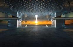 Plan rapproché et vue de perspective de plancher vide de ciment avec l'extérieur de construction moderne d'acier et en verre illustration libre de droits