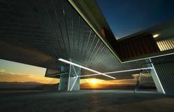 Plan rapproché et vue de perspective de plancher vide de ciment avec l'extérieur moderne en acier et en verre de bâtiment illustration libre de droits