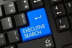 Plan rapproché exécutif de recherche de bouton bleu de clavier 3d Photographie stock