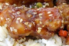 Plan rapproché extrême de poulet de sésame Photo stock
