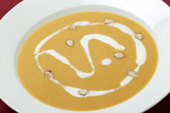 Plan rapproché français de soupe à courge Photo stock