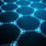 Plan rapproché géométrique hexagonal de forme de nanotechnologie abstraite, structure atomique de graphene de concept, graphene d Photo libre de droits