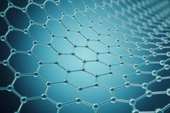 Plan rapproché géométrique hexagonal de forme de nanotechnologie de rendu, structure atomique de graphene de concept, moléculaire Photo stock