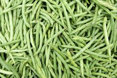 Plan rapproché indigène de haricots verts de Baguio sur le marché philippin images libres de droits