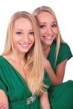 Plan rapproché jumeau de visages de filles Images libres de droits